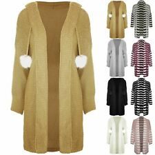 Womens Ladies Chunky Knit sweater Hooded Oversized Open Front Pom Pom Cardigan