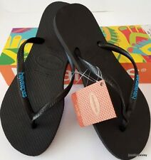 0924b76ecf2cbc HAVAIANAS Genuine NEW Ladies Slim THONGS FLIP FLOPS SANDALS BLACK BLUE Logo  Surf