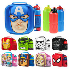 Kids Boys Insulated Cool 3D Lunch Bag School Lunchbox Drinks Water Bottle Set