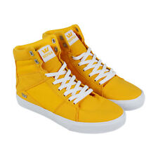 Supra Aluminum Mens Yellow Canvas High Top Lace Up Sneakers Shoes