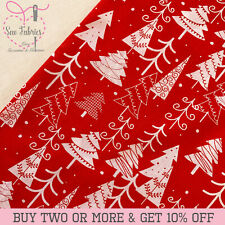 Red Christmas Tree Polycotton Fabric, Xmas 20% Cotton 80% Polyester.