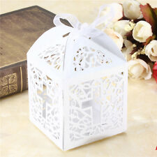 10/50/100pcs Cross Hollow Wedding Party Paper Favor Candy Boxes With Ribbon Hc