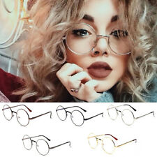 Women Men Vintage Oversized Metal Frame Clear Lens Big Round Circle Eye Glasses
