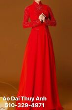 Ao Dai Vietnamese Double Layer Long Dress with Pants (Free Priority shipping)