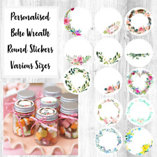 Personalised Boho Floral Wreath Wedding Favour Party Sticker Labels 19mm - 88mm