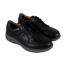 Clarks Un Rise Lace Mens Black Leather Low Top Lace Up Sneakers Shoes