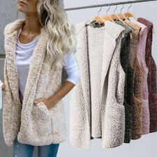 Women Fleece Fur Body Warmer Vest Waistcoat Gilet Sleeveless Jacket Coat Outwear