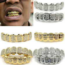 Silver/Gold Teeth Grills Plated Tooth Caps 1 Set Hip Hop Grillz Unisex Bling
