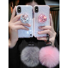 Pink Diamond Texture Soft Case Cover with  Up Holder for iPhone X XR MAX 6 78