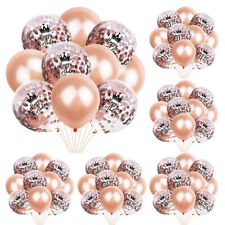 10PCS 12inch Foil Latex Rose Gold Confetti Ballons Happy Birthday Party Decor US