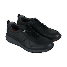 Clarks Un Coast Form Mens Black Leather Low Top Lace Up Sneakers Shoes