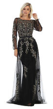 SPECIAL OCCASION LONG SLEEVE FORMAL PROM DRESS MOTHER OF THE BRIDE EVENING GOWNS