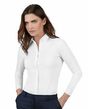 T.M.Lewin Women's Suit Shirt White Stretch Classic Collar Button Cuff