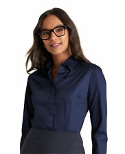 T.M.Lewin Women's Suit Shirt Navy Stretch Classic Collar Button Cuff