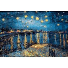 USA SELLER! print painting Spray Canvas Van Gogh sky Starry night over Rhone