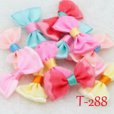 10/50P Mini Satin Ribbon Flowers Organza Bows Appliques/craft/Wedding Decoration