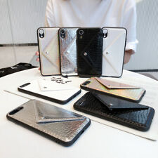 For iPhone 7 8 XS Max XR Crocodile Pattern Leather Wallet Card Holder Case Cover