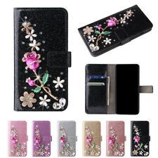 For iPhone 7 8 X XS Max XR Bling Diamond Rose Flower Glitter Leather Case Cover
