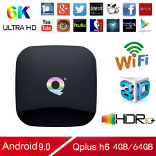 Q Plus Smart TV Box Android 9.0 H6 Quad Core 4GB+64GB 6K HD Media Player WiFi US