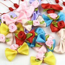 Lot 100Pcs Satin Ribbon Flowers Mini Rose Bows Appliques DIY Craft Wedding Decor
