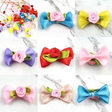 Satin Ribbon Flowers Lot Mini Rose Bows Appliques 100Pcs DIY Craft Wedding Decor