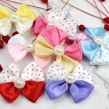 Lot Satin Ribbon Flowers 100P Mini Pearl Bows Appliques DIY Craft Wedding Decor