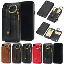 Genuine Leather Case Wallet Card Slot Ring Cover For iPhone 8 6 7 Plus XS MAX XR