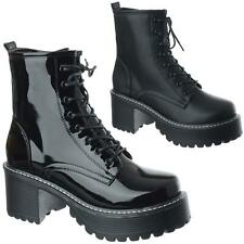 Ladies Womens Chunky Military Combat Platform Lace Zip Up Ankle Boots Shoes Size