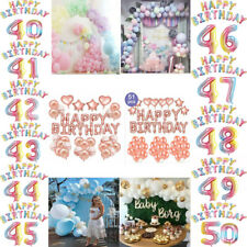 40/41st/42nd/43/44/45/46/47/48/49/50th Happy Birthday Balloon Party Banner Decor