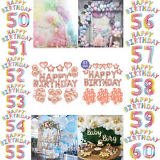 50/51st/52nd/53/54/55/56/57/58/59/60th Happy Birthday Balloon Party Banner Decor