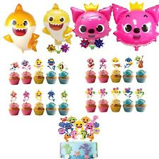 Baby Shark Cupcake Toppers + Baby Shark Pinkfong Balloons Collection Set