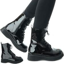 WOMENS LADIES LACE UP FLATFORM CHUNKY GOTH PUNK ZIP ICON RETRO ANKLE BOOTS SIZE