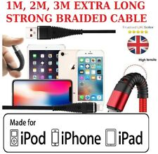 HEAVY DUTY EXTRA LONG LIGHTNING USB CHARGING CABLE FOR APPLE I PHONE 5 6 7 8 X