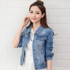 2019New Denim Jacket Light Blue Bomber Short Jeans Jacket Casual Ripped Denim Ou