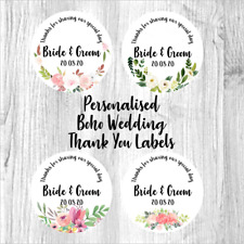 Personalised Wedding Favour Stickers Boho Floral Wreath Thank You labels Tags