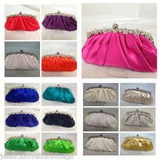 UK #Womens Ladies crystal satin bridal wedding evening clutch handbag purse 486