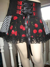 New COOL Gothic Black Red White Cherry Check Lace Corset Tutu Skirt Lolita Rock