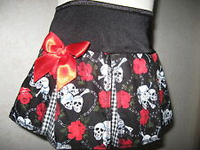 New Black White Red Skulls Roses pleated Skirt All sizes Alternative Gothic Rock