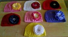 BABY GIRL CROCHET COTTON HAT WITH LARGE FLOWER 0 - 6 MONTHS