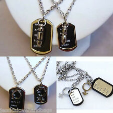 UK-men unisex LOVE COUPLE stainless steel 2 set title dog tag chain necklace