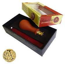 MANUSCRIPT A-Z INITIAL SEAL BOXED WITH HANDLE & RED WAX ALPHABET SEALING STAMP