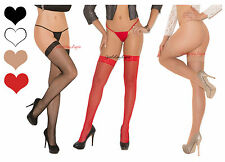 QUEEN Size CLASSIC FISHNET STOCKINGS Lace Top THIGH HIGHS for Garterbelt PLUS