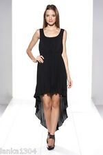 Izabel Black or Peach Dip Hem Pleated Party Wedding Dress Gown(NEW) sizes:M or L
