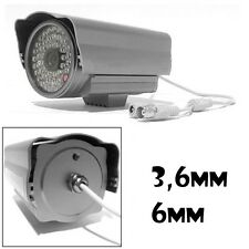TELECAMERA CCD 48 LED IR 3.6MM 6MM COLOR GIORNO NOTTE PAL BNC INFRAROSSI