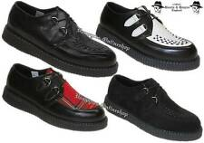 Boots & Braces Creepers New Schwarz  Weiß Tartan Rot Creeper Leder And Schuhe