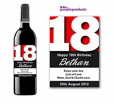 PERSONALISED 18th BIRTHDAY WINE, CHAMPAGNE or BEER/CIDER BOTTLE LABEL