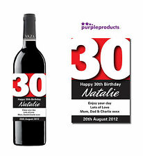 PERSONALISED 30th BIRTHDAY WINE, CHAMPAGNE or BEER/CIDER BOTTLE LABEL
