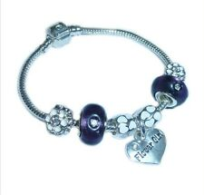 LADIES/GIRLS/CHILDRENS CHARM BRACELET PERSONALISE PURPLE/SILVER HEARTS BEADS
