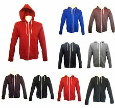 Mens Hoodies Plain American Campus Fleece Zip Hoody Jacket Hooded Top XS-XL