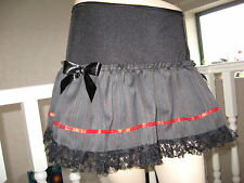 NEW Black Grey Red Pinstriped Mourning lace Skirt Punk Goth Rock Lolita Party